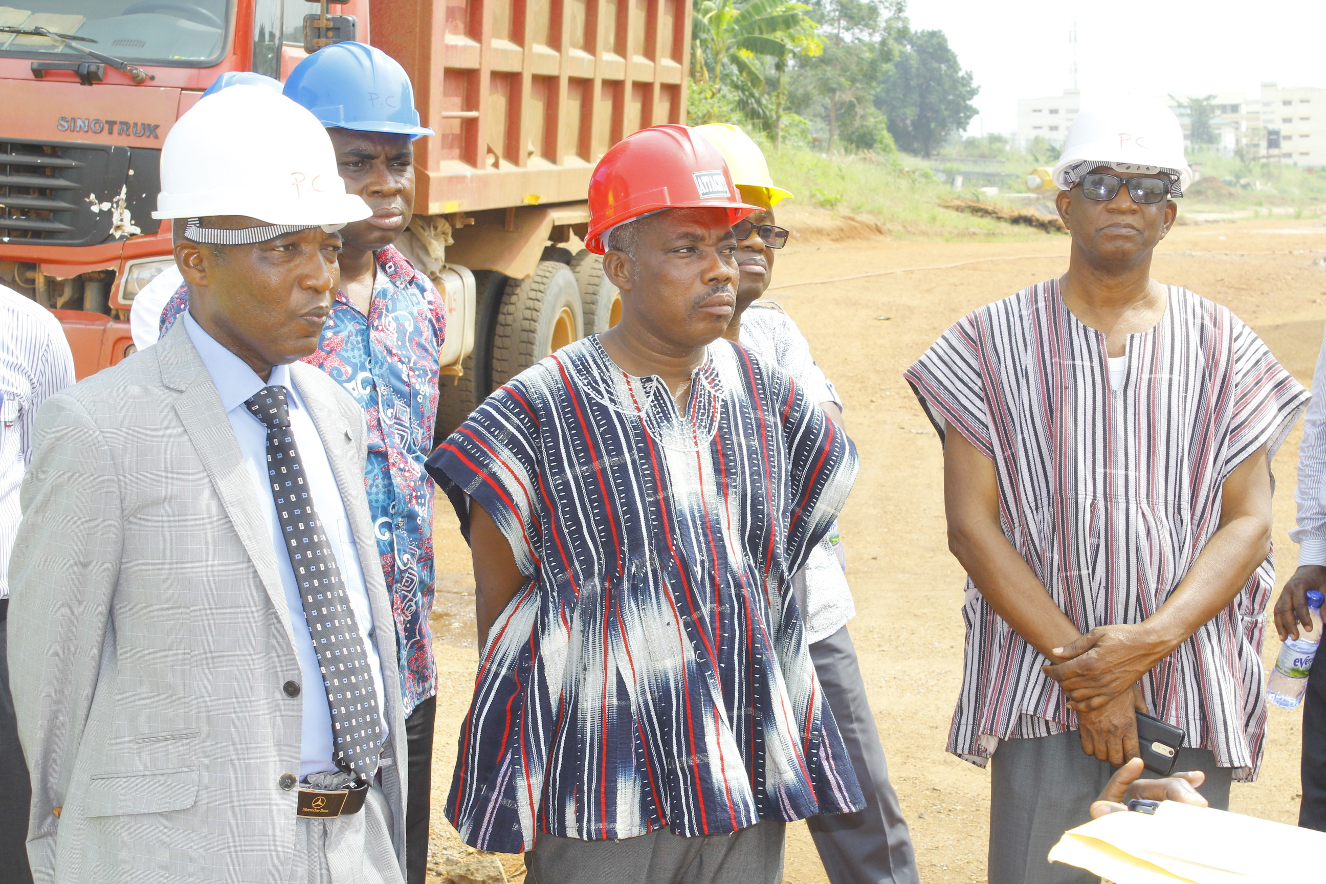 Principal, College of Technology Education, Kumasi (COLTEK) and management team at the project site